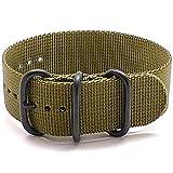 #3: DaLuca Ballistic Nylon NATO 1 Piece Watch Strap - Olive (PVD Buckle) : 20mm