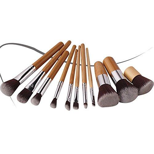 Contever® Set de Pinceau Maquillage Professionnel 11 PCS Ombre à Paupière Blush Pinceau Poudre Fond de Teint Fondation Anti-cerne Kit Pinceaux avec Sac