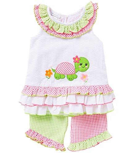 Entzückendes Schildkröten Sommer Seersucker Outfit von Bonnie Jean Gr. 56,62,68,74,80,86 Größe 74