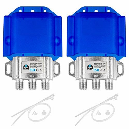 2x HQ DiseqC Schalter Switch 2/1 mit Wetterschutzgehäuse HB-DIGITAL 2x SAT LNB 1 x Teilnehmer / Receiver für Full HDTV 3D 4K UHD
