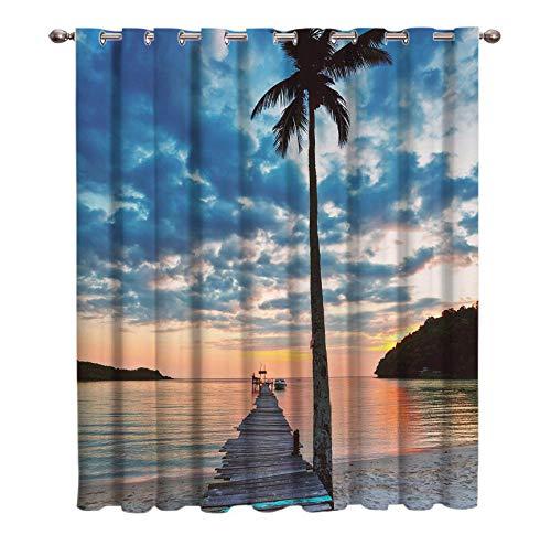 WKJHDFGB Sonnenuntergang Meer Strand Vorhänge Fenster Dunkle Jalousien Wohnzimmer Decor Outdoor Küche Stoff Kinder Vorhang Panels 160X135Cm