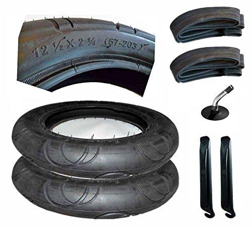 2er Set Reifen + Schlauch mit Winkelventil 12 1/2 Zoll 57- 203 mit Montagehebel