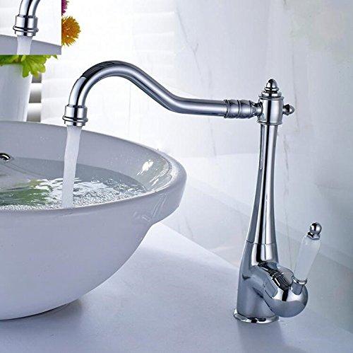 Aawang Euro Waschtisch Armatur Waschbecken Wasserhahn Nickel Gebürstet Kalt Heiß Porzellan Halterung 360 Grad Schwenkbaren Badezimmer Waschbecken Wasserhahn Tippen Chrom Euro Design-waschtisch