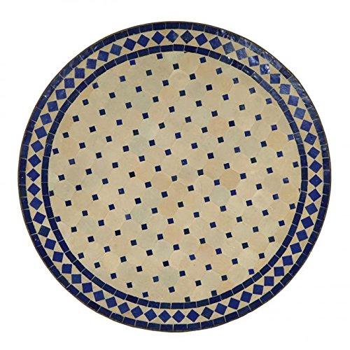 Casa Moro Mediterraner Gartentisch marokkanischer Mosaiktisch Ø 90 cm rund blau terrakotta mit Gestell H 73 cm Kunsthandwerk aus Marrakesch | Dekorativer Balkontisch Bistrotisch Beistelltisch MT2108