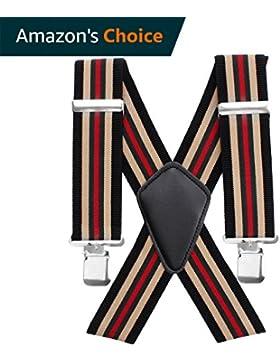 Bretelle, stile vintage, 50mm, con stampa, elastiche, resistenti e regolabili, da uomo, con clip in metallo,...