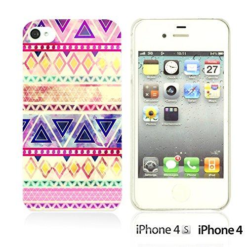 OBiDi - Geometrical Pattern Hardback Case / Housse pour Apple iPhone 4S / Apple iPhone 4 - Funny Tribal Print Purple Pink Watercolor Aztec Pattern