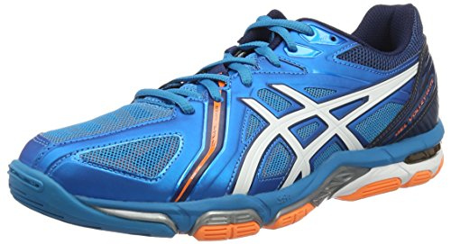 Asics Herren Gel-Volley Elite 3 Volleyballschuhe, Blau (Blue Jewel/White/Hot Orange), 45 EU (Volleyball-schuh 3)