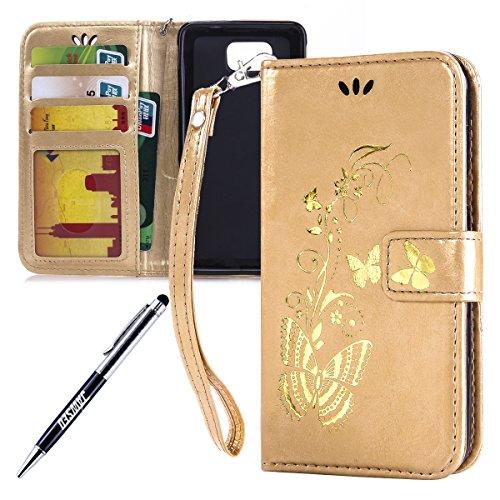 Kompatibel mit Samsung Galaxy Alpha SM-G850F Hülle Hülle Luxus Gold Schmetterling Muster Lanyard/Strap Pu Leder Hülle Handytasche Brieftasche Etui Schutzhülle Flip Wallet Case Cover Gold -