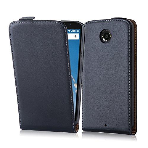 Cadorabo Hülle für Motorola Google Nexus 6/ 6X Hülle in KAVIAR Schwarz Handyhülle aus Glattem Kunstleder im Flip Design Case Cover Schutzhülle Etui Tasche Kaviar-Schwarz