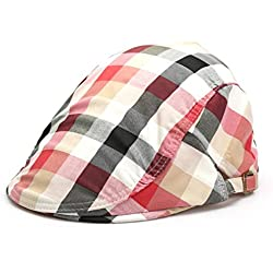 sombrero clásico de la tela escocesa de la moda de verano, Gran Bretaña Lunbei Lei sombreros, los hombres y mujeres ocasional otoño y el invierno de la boina casquillo hacia delante