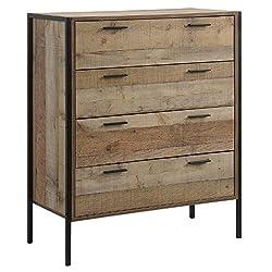 Sen Furniture Ltd Stretton Urban Bedroom Tall Chest of 4 Drawers Rustic Industrial Oak Effect