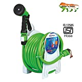 AquaHose Household Water Hose Reel - Fixed Type (Green) 15mtr ISI Marked Hose (with Tap Adapter with easy to use Butterfly Clamp & Bead Chain to Tighten)