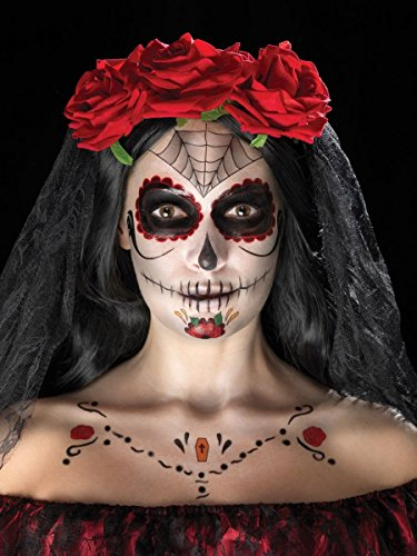 Smiffys Schminke Klebetattoo Set Tattoo Tag der Toten Skelett ()