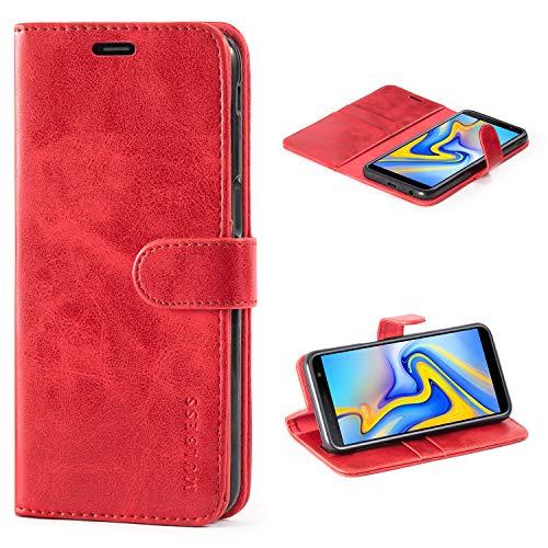 Mulbess Handyhülle Samsung Galaxy J6 Plus Hülle Leder, [Ledertasche mit BookStyle] Flip Case Tasche Etui Schutzhülle für Samsung Galaxy J6+ Hülle Leder, Wein Rot