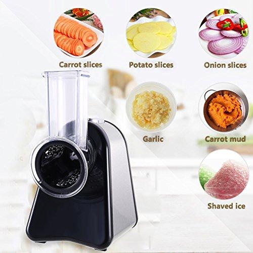 Ncient Schnitzelwerk Elektrisch 150W Obst Gemüse Zerkleinerer Gemüsehobel Küchenmaschine Küchenreibe mit 4 Aufsätze