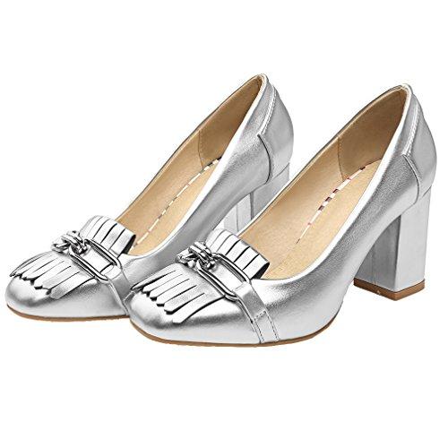 YE Damen Geschlossen High Heel Pumps mit Fransen und 8cm Blockabsatz Bequem  Schuhe Silber ...