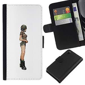 GIFT CHOICE / Smartphone Cell Phone Wallet Ledertasche Schutzhülle Tasche Hülle HandyHülle für Sony Xperia Z3 D6603 // sexy Frau Beine hip weiße minimalistischen //