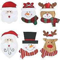 BESTONZON 6 unids de Navidad Vajilla organizador Bolsas de Cubiertos Cuchillo Y Tenedor Bolsillos de almacenamiento caso para la Cocina Casera Fiesta de Navidad Decoración de La Boda de Escritorio