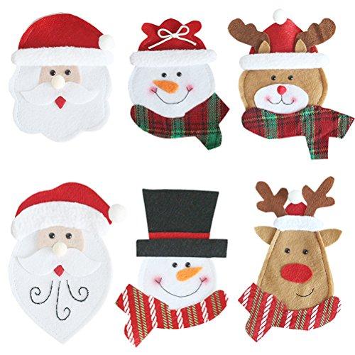 OUNONA 6pcs Weihnachtsgeschirr Organisator Besteck Taschen Messer und Gabel Lagerung Taschen Fall für Zuhause Küche Weihnachten Party Hochzeit Desktop Dekoration