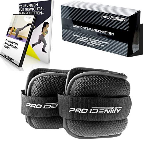 PRO IDENTITY 2er Set Gewichtsmanschetten inkl. KOSTENLOSEM ANLEITUNGSVIDEO + EBOOK und praktischer Tasche - [1kg 1,5kg 2kg 2,5kg] Gewichte für Arme und Beine (2X 1kg)