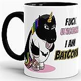 Tassendruck Unicorn/Einhorn/Farbtasse Innen und Henkel Schwarz mit Spruch - Kaffeetasse Mug Cup Batcorn - Qualität Made in Germany