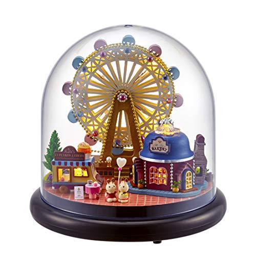 MAJOZ DIY Puppenhaus Mini Haus Welt mit LED Licht 3D Puzzle Geschenk Spielzeug für Kinder und Freunde Weihnachten Geburtstagsgeschenk (Riesenrad) (Weihnachts-riesenrad)