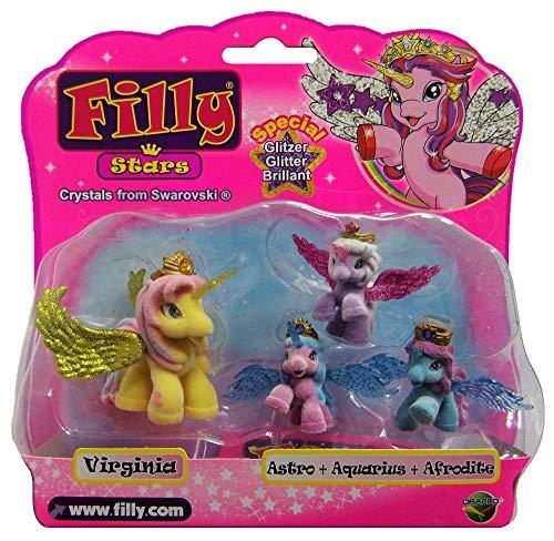 Dracco Filly Glitzer Stars 4er Set Mutter mit 3 kleine Pferdchen,Einhörner Spiel- und Sammelfiguren für Kinder, Mädchen (Virginia mit Astro, Aquarius, Afrodite)