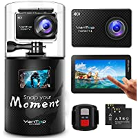VanTop Moment 4 Action Camera 4K 20MP Sports Camera with Sony Sensor, EIS, Touch Screen, Adjustable Angles-of-View, 30M Water Resistance, Remote, Dual Battery & Accessory Kit Compatible with GoPro