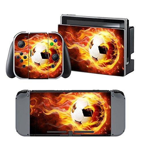 Chickwin Switch Design Folie Aufkleber Sticker schützende Haut Schale für Nintendo Switchund 2 Thumb Grips ( Feuer Fußbal l)