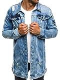 OZONEE Mix Herren Hoodie Funktionsjacke Casual Zip Sportswear Modern Jeansjacke Übergangsjacke Jacke Denim Sweats Sweatjacke Frühlingsjacke Jeans Jacke Otantik 474K BLAU M