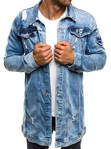 OZONEE Mix Herren Hoodie Funktionsjacke Casual Zip Sportswear Modern Jeansjacke Übergangsjacke Jacke Denim Sweats Sweatjacke Frühlingsjacke Jeans Jacke Otantik 474K BLAU XL
