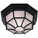 Deckenlampe für den Außenbereich, sechseckig, Halterung, Überzug matt, Glas, Aluminium