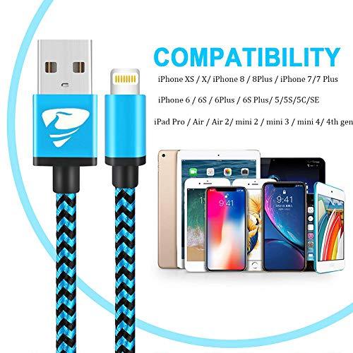 Aioneus Cargador iPhone [MFi Certificado] Cable iPhone 2M 3 Pack Trenzado de Nylon Cable Lightning Compatible con iPhone X 8 8 Plus 7 7 Plus 6s 6s Plus 6 6 Plus 5s 5 SE iPad (Azul,  Verde,  Naranja)