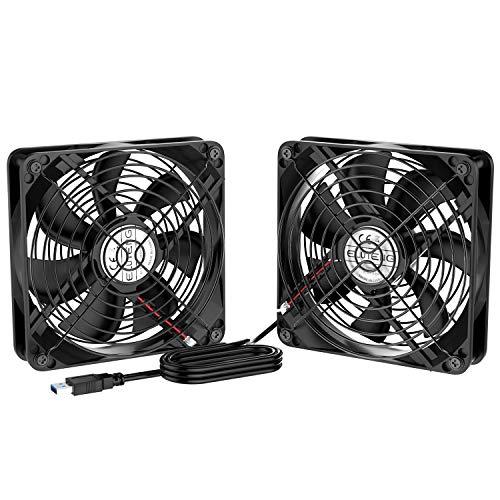 ELUTENG Ventilateur 120mm Double 2 in 1 USB Fan Grille Ventilateur de PC 5V Fan Cooler Refroidisseur 12cm Cooling pour PS4 PS3 Xbox Routeur Mini PC