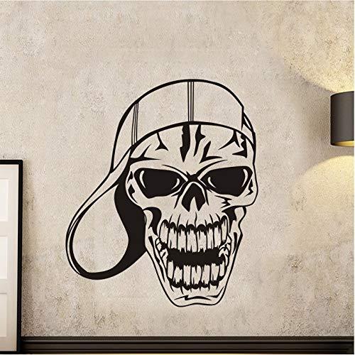 jiushizq Schädel Halloween Baseball Cap Aufkleber Punk Death Decal Teufel Name Auto Kunst Wandtattoos Parede Decor M Weiß 98x116cm