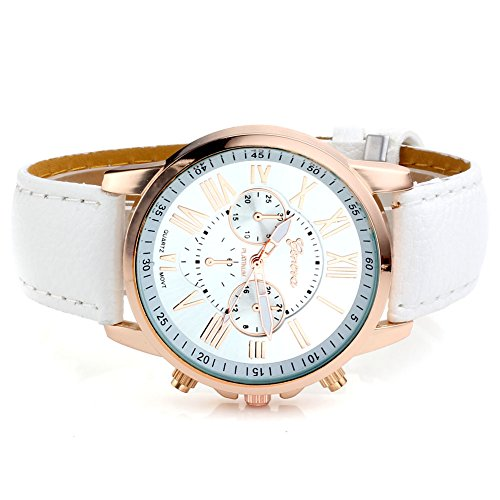 JS-Direct-Womens-Fashion-Analog-Watch-PU-Leather-Band-Rose-Gold-Tone-White