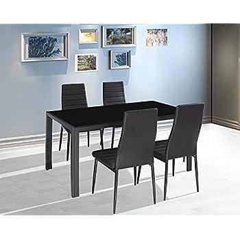 Esstische glas schwarz  Amazon.de: EBS® Esstisch Stuhl Set Essgruppe Tischgruppe ...
