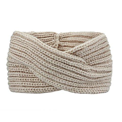 VRTUR Damen Schleife Design Stirnband Winter Kopfband Haarband Stirnband Häkelarbeit (Einheitsgröße,Beige)