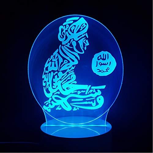 ganjue 3D Geschenk 7 Farbwechsel Stimmung Led Islam Lampe Gott Allah Segnen Koran Arabisch Modellierung Schreibtisch USB Nachtlicht Kind Schlaf Beleuchtung