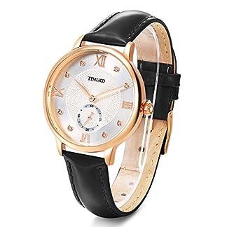 Time100-NEU-Damenuhr-Lederarmband-Schwarz-Qaurzuhr-Wasserdicht-Armbanduhr-mit-Strass-W80099L01A