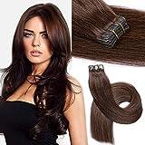 Tape in Extensions Echthaar Haarverdichtung Haarverlängerung 20 Tressen x 4 cm breit 40cm Remy Haarteile(16zoll,2#Dunkelbraun)