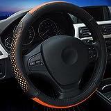 XuanMax Universal Fashion Funda de Volante Coche Cuero Microfibra Piel Respirable Vehiculo Cubierta del Volante Envoltura Protectora Antideslizante Auto Steering Wheel Cover 38cm - Naranja