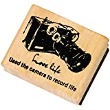Outgeek Wood Stamp Wooden Stamper Creative Vintage World Scenic Spots Pattern Wooden Rubber Stamp 4 Sizes 1 Piece Camera L