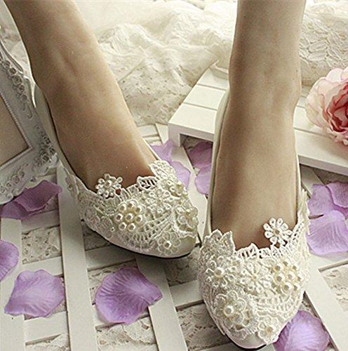 JINGXINSTORE Pizzo bianco macchia cinturino scarpe di nozze di perla bassa nuziale tacchi alti 7.5 cm / 3inch heel