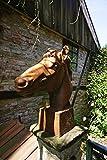 Antikas - Skulptur Pferdekopf, eindrucksvoll, Lebensgröße, Mauerkrone Pferd Rostoptik