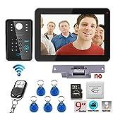 YA Interfaccia per la Registrazione di Password RFID da 9 Pollici Videocitofono Citofono 900TVL Kit + Telecomando Wireless Unlock ++ Elettroserratura + Pulsante di Uscita 5-20 Metri