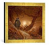 Gerahmtes Bild von Caspar David Friedrich Zwei Männer in Betrachtung des Mondes, Kunstdruck im hochwertigen handgefertigten Bilder-Rahmen, 40x30 cm, Gold raya