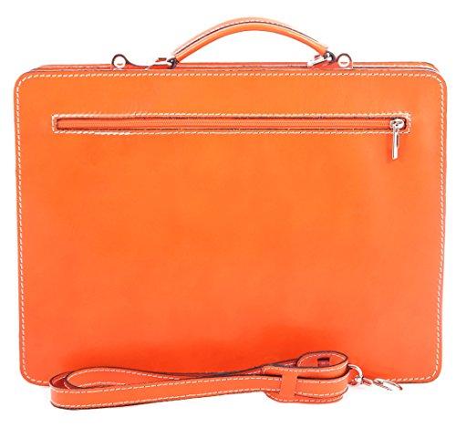 Männerarbeit Bag, Box Italienisch und Document Organizer, 100% echtes Leder Made in Italy Orange