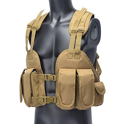 YAKEDA® Polizeiweste , militärische Weste, Armee Weste, Lager in khaki Farbe / Wald Farbe Seal Weste Feldhemd Tactical Vest Military --HBV 01 (Schlammfarbe) Schlammfarbe
