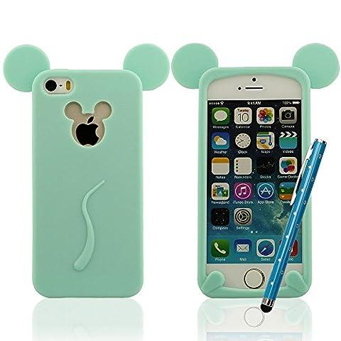 Housse étui de protection para iPhone 5 5S 5C 5G, Mickey Mouse Style Série, Super Souple & Mince Silicone Gel Prime Coque + Joli Stylet, Slap-up Style Haute qualité Case
